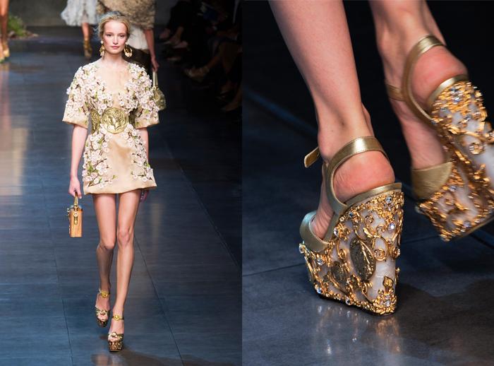 Dolce   Gabbana Εντυπωσιακές πλατφόρμες με χρυσές λεπτομέρειες ολοκληρώνουν  τα υπέροχα σύνολα που παρουσίασε ο ιταλικός οίκος. 9157c79b1e8