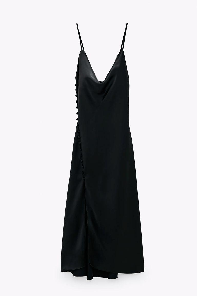 Σατέν μαύρο φόρεμα, Zara.