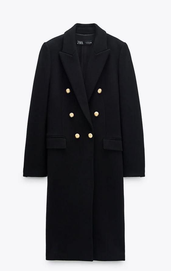 Παλτό με χρυσά κουμπιά, Zara.